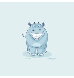 Emoji character cartoon Hippopotamus with a huge vector