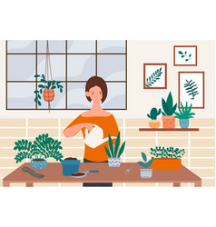female character is taking care plants vector image