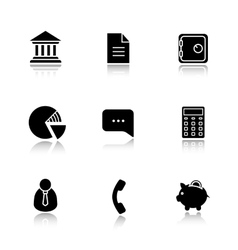 Finance and banking drop shadow icon set vector image