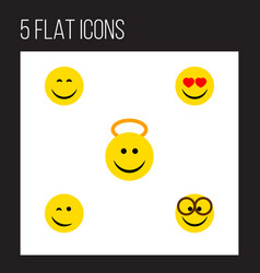 flat icon gesture set of smile angel pleasant vector image