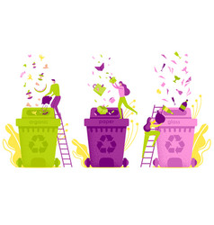 Flat waste sorting and disposal vector
