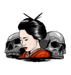 geisha beautiful japanese girl vector image