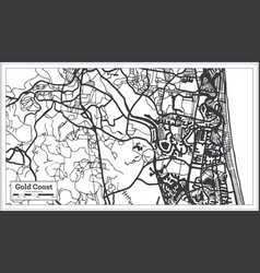 Gold coast australia city map in black and white vector