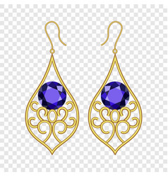 golden earrings mockup realistic style vector image