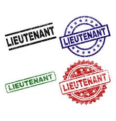 Grunge textured lieutenant seal stamps vector