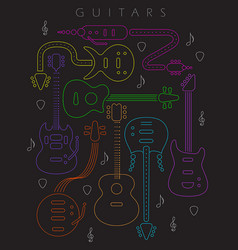 Guitar in neon colors vector