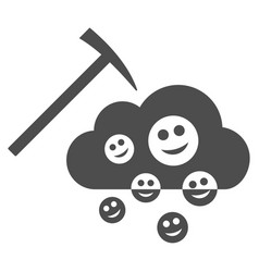 Happy cloud mining flat icon vector