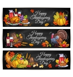 Happy Thanksgiving Day greeting banners vector image