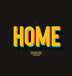 Home font 3d bold color style vector