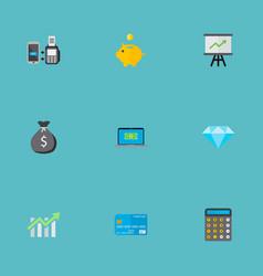 Icons flat style progress chart credit card vector