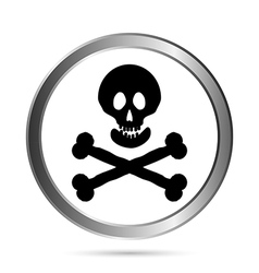 Jolly Roger flag button vector