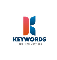 Keywords reporting services letter k icon vector
