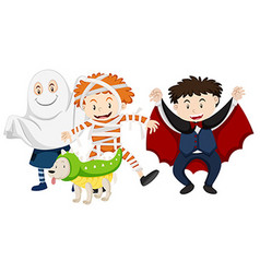 Kids dressed up for halloween vector