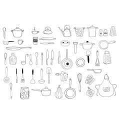Kitchenware outline doodle line art clipart vector