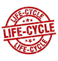 Life-cycle round red grunge stamp vector