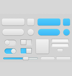 light grey and blue interface buttons vector image