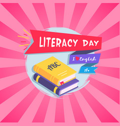 Literacy day bright postcard vector