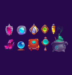 magic amulets crystal book spell and cauldron vector image