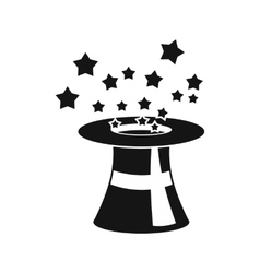 Magic hat with stars icon simple style vector image