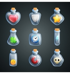Magic potions for game Power ups and bonuses for vector