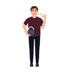 Man holding lock with key happy character in vector