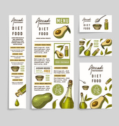 menu with avocado restaurant dietary vegetarian vector image