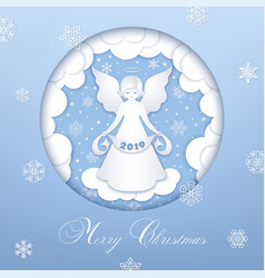 Merry christmas paper cut card vector