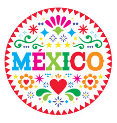 Mexico pattern mexican colorful folk art vector