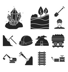 mining industry black icons in set collection for vector image
