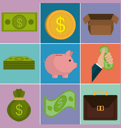 money finances set icons vector image