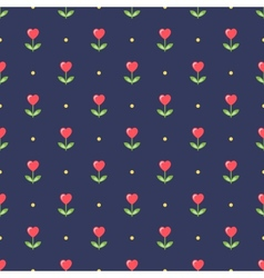 Neat seamless pattern with heart-shape flowers vector