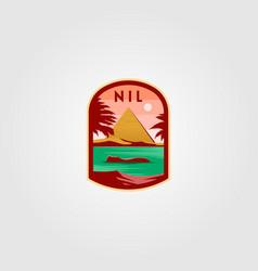nil river logo pyramid design vector image