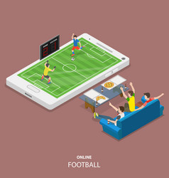 Online football flat isometric concept vector