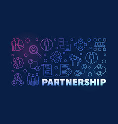 Partnership colored line on vector