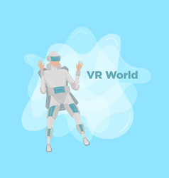 people future man playing with vr headset vector image