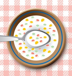 Plate with spoon and flakes vector