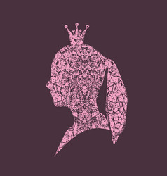 Profile silhouette of a princess in a frame vector