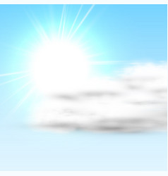 realistic cloud with sun and blue sky vector image
