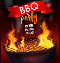 Realistic fire flame bbq grill composition vector