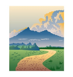 Road leading to mountains vector