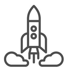 Rocket launch line icon spacecraft vector