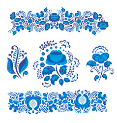 russian ornaments art gzhel style painted with vector image