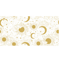 seamless golden space pattern with sun crescent vector image