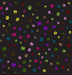 seamless pattern with colorful animal foot prints vector image