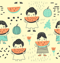Seamless pattern with cute girls and watermelons vector