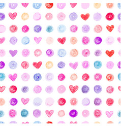 Seamless pattern with hand drawn hearts and dots vector