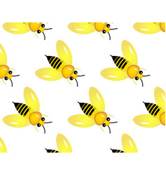 seamless pattern with honey bee vector image
