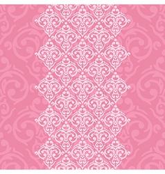 seamless pink frameborder in damask baroque style vector image