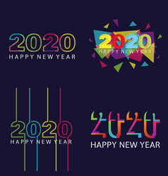Set happy 2020 new year insta color banner for vector