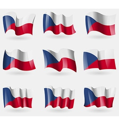 Set of Czech Republic flags in the air vector image